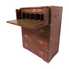 Antique Mahogany Campaign Chest with Desk Drawer, circa 1890s