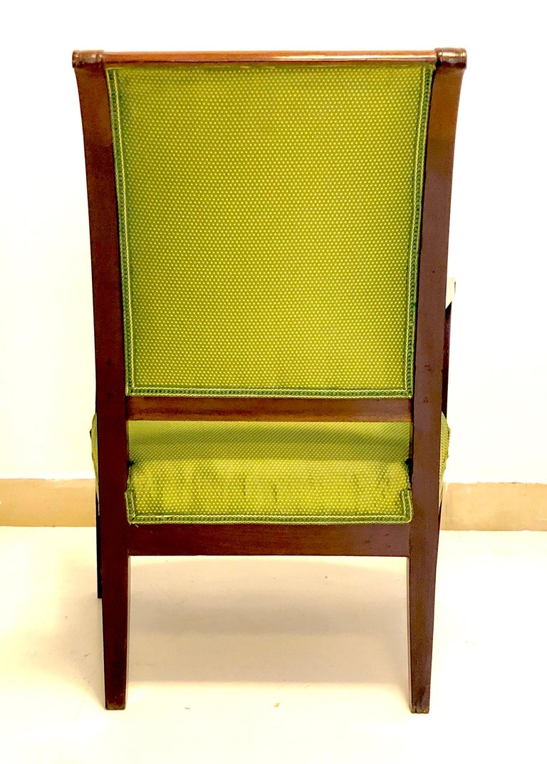 Carved Antique Mahogany Child Armchair, France For Sale