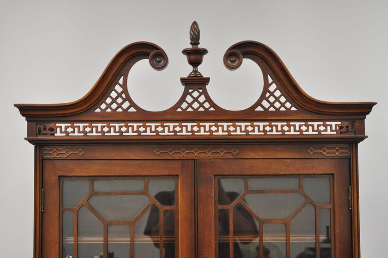 American Antique Mahogany Chinese Chippendale Carved Fretwork Bookcase Secretary Desk For Sale