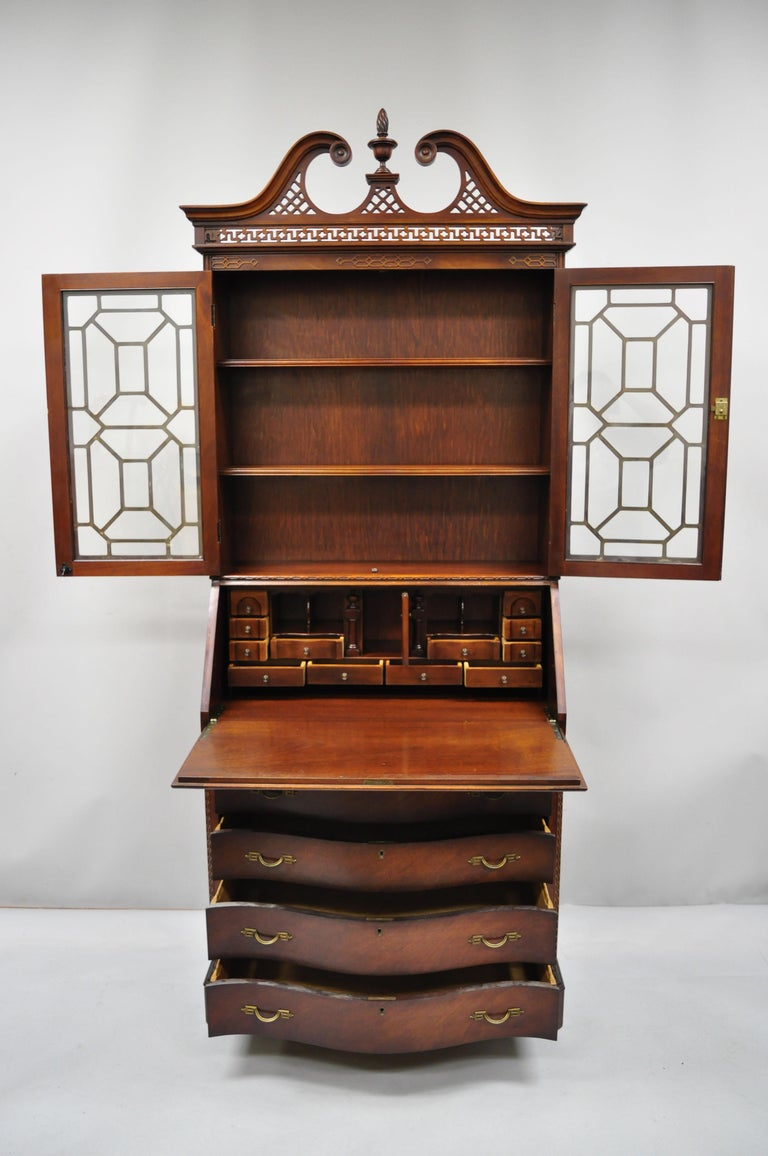 Glass Antique Mahogany Chinese Chippendale Carved Fretwork Bookcase Secretary Desk For Sale
