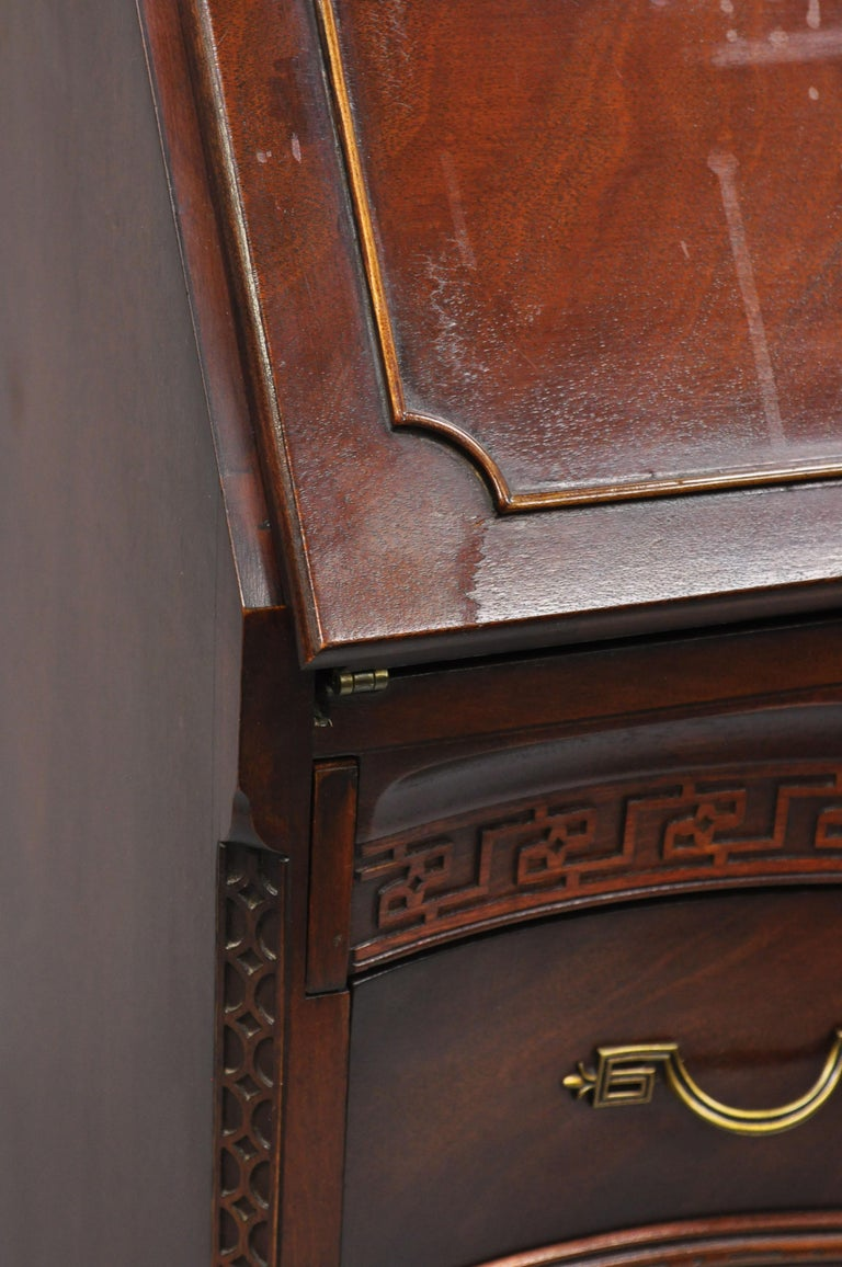 Antique Mahogany Chinese Chippendale Carved Fretwork Bookcase Secretary Desk For Sale 2