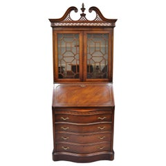 Antique Mahogany Chinese Chippendale Carved Fretwork Bookcase Secretary Desk