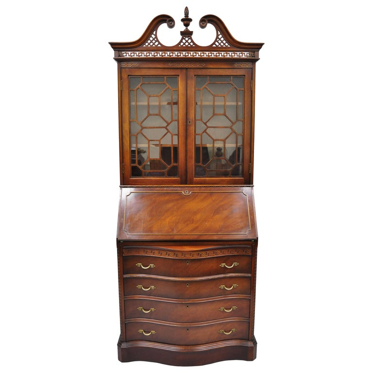 Antique Mahogany Chinese Chippendale Carved Fretwork Bookcase Secretary Desk For Sale