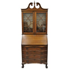 Antique Mahogany Chippendale Style Bow Front Ball and Claw Tall Secretary Desk