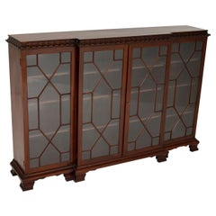 Antique Mahogany Chippendale Style Breakfront Bookcase