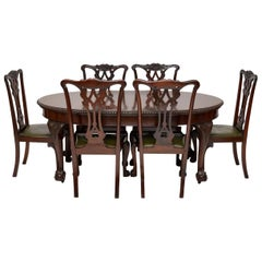 Antique Mahogany Chippendale Style Dining Table and Six Chairs