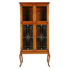 Antique Mahogany Cocktail Cabinet, Stained Glass, Arts & Crafts, Scotland 1910