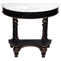 Antique Mahogany Demilune Console Table with New Carrara Marble Top
