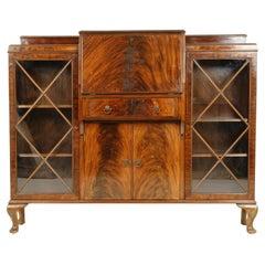 Antique Mahogany Desk, Bookcase Sides, Scotland 1920, B2407