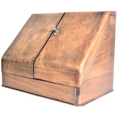 Antique Mahogany Desk Top Organizer or Storage Chest with Perpetual Calendar