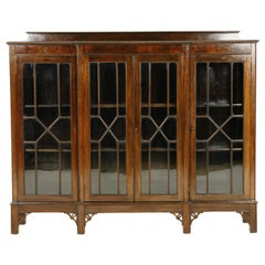 Antique Mahogany Display Cabinet, Chippendale Style, Breakfront Bookcase, B2437