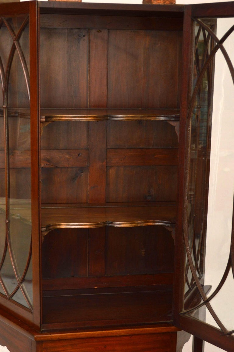 Antique Mahogany Display Cabinet on Stand For Sale 4