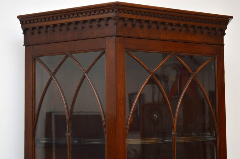 Victorian Antique Mahogany Display Cabinet on Stand For Sale