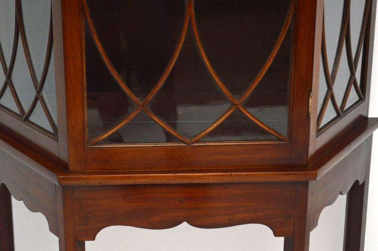 Antique Mahogany Display Cabinet on Stand For Sale 1