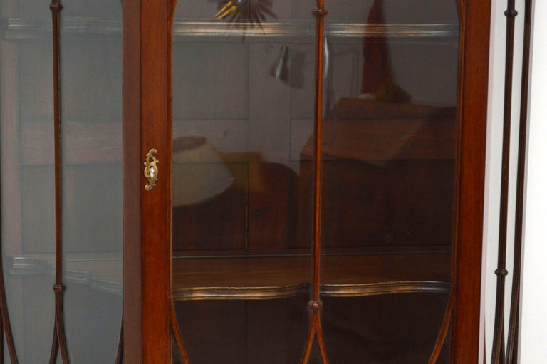 Antique Mahogany Display Cabinet on Stand For Sale 2