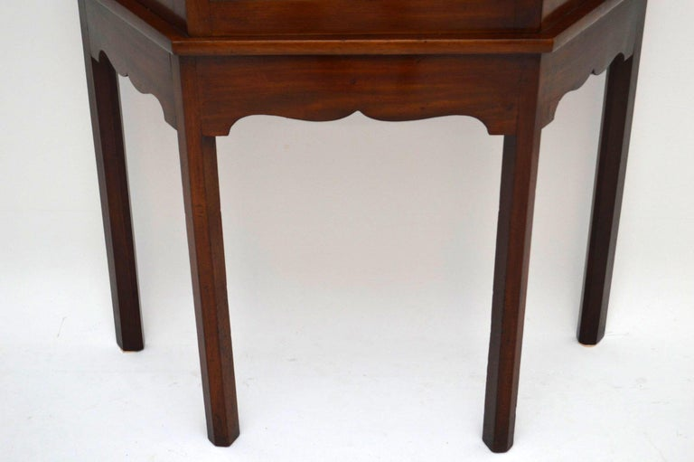 Antique Mahogany Display Cabinet on Stand For Sale 3
