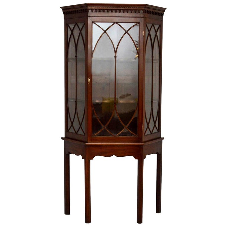 Antique Mahogany Display Cabinet on Stand For Sale