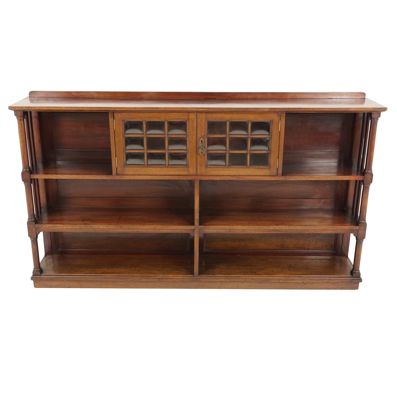 Antique Mahogany Display Cabinet, Open Bookcase, Scotland 1910, B2255