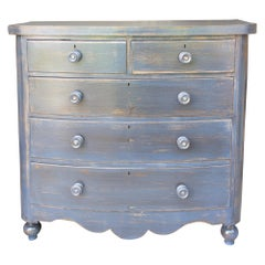 Antique Mahogany Dresser in Hale Navy with Mother of Pearl Inlayed Pulls