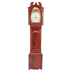 Antique George III Mahogany Eight Day Painted Face Grandfather Clock