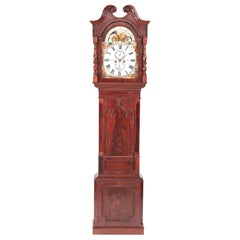 Antique Mahogany Eight Day Painted Face Moonphase Grandfather Clock
