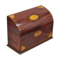 Antique Mahogany English Regency Satinwood Pinwheel Inlay Letter Desk Box
