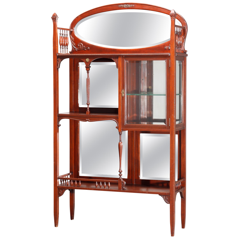 Antique Mahogany Étagère Mirrored Curio Cabinet, circa 1900