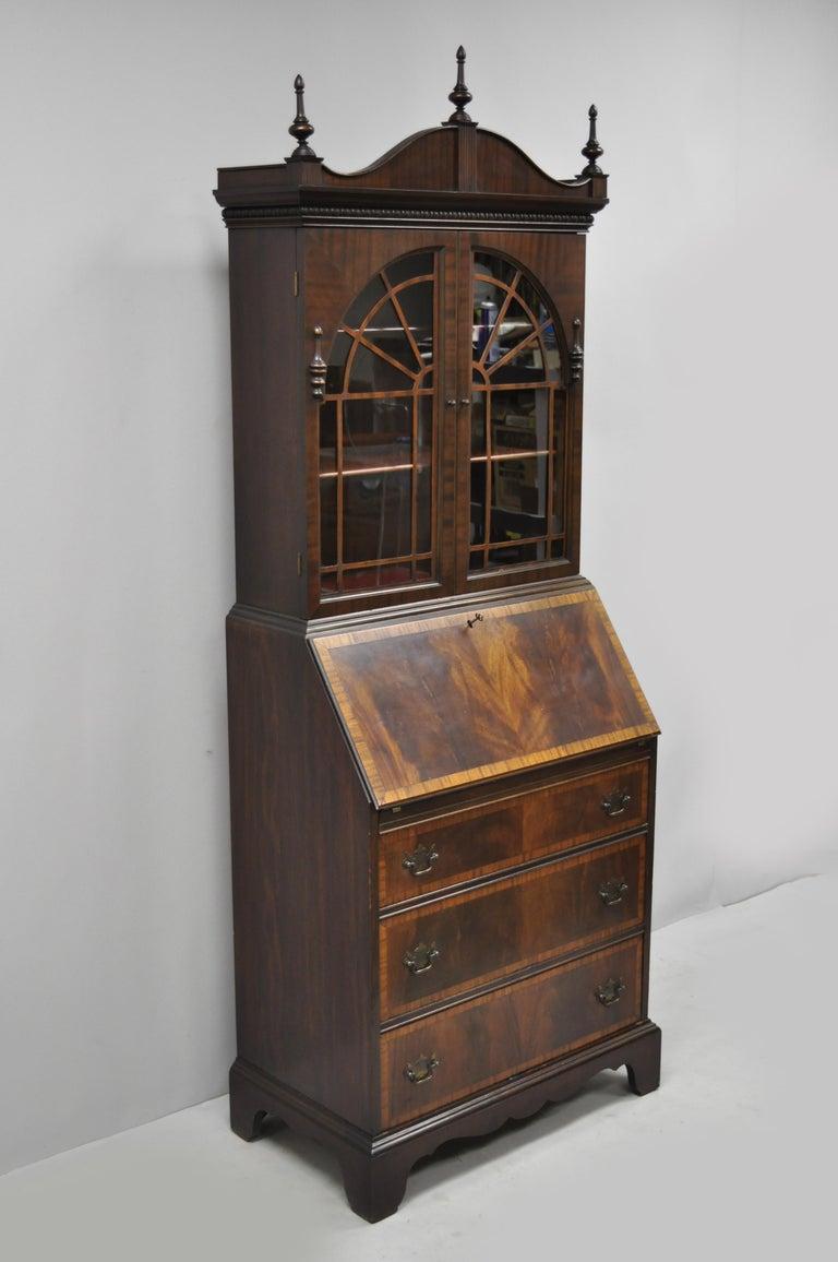 Antique Mahogany Federal Chippendale Style Secretary Desk