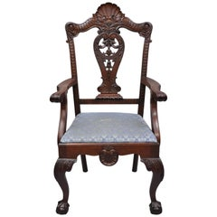 Antique Mahogany Georgian Chippendale Style Shell Carved Ball and Claw Armchair
