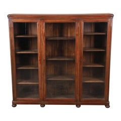 Antique Mahogany Glass Front Triple Bookcase, circa 1900