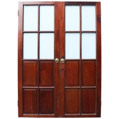 Antique Mahogany Half Glazed Double Doors