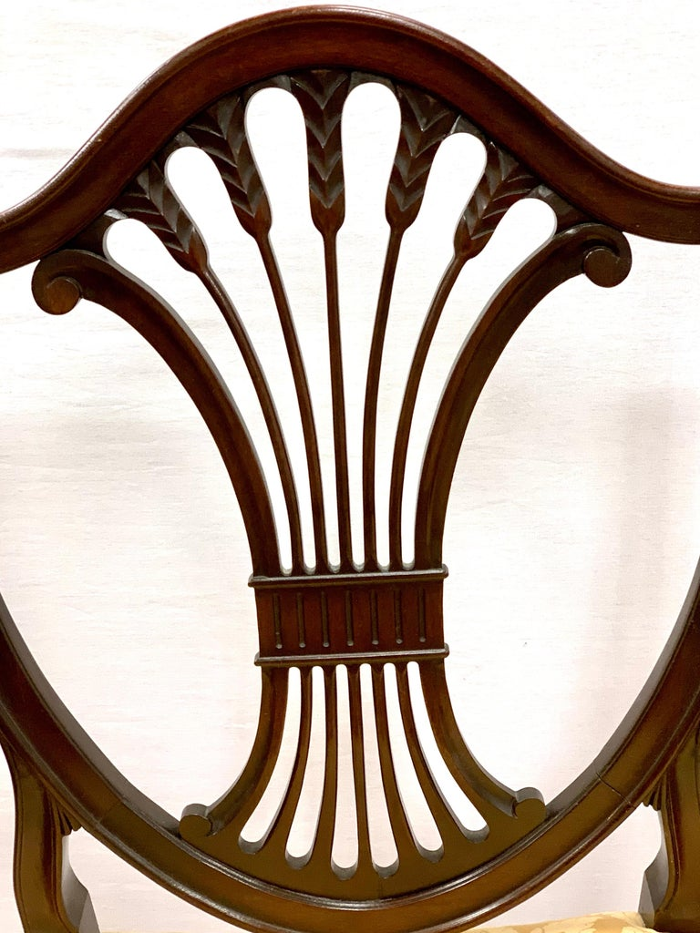 20th Century Antique Mahogany Hepplewhite Carved Wheat Sheaf Shieldback Dining Chairs