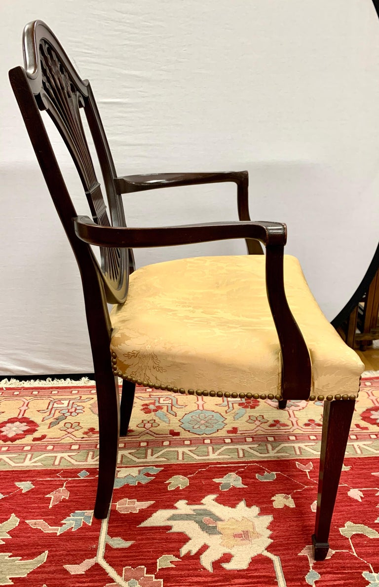 Fabric Antique Mahogany Hepplewhite Carved Wheat Sheaf Shieldback Dining Chairs