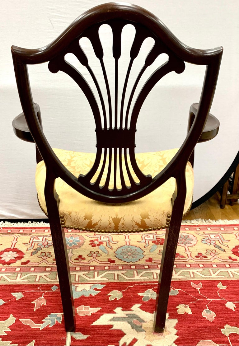 Antique Mahogany Hepplewhite Carved Wheat Sheaf Shieldback Dining Chairs 1