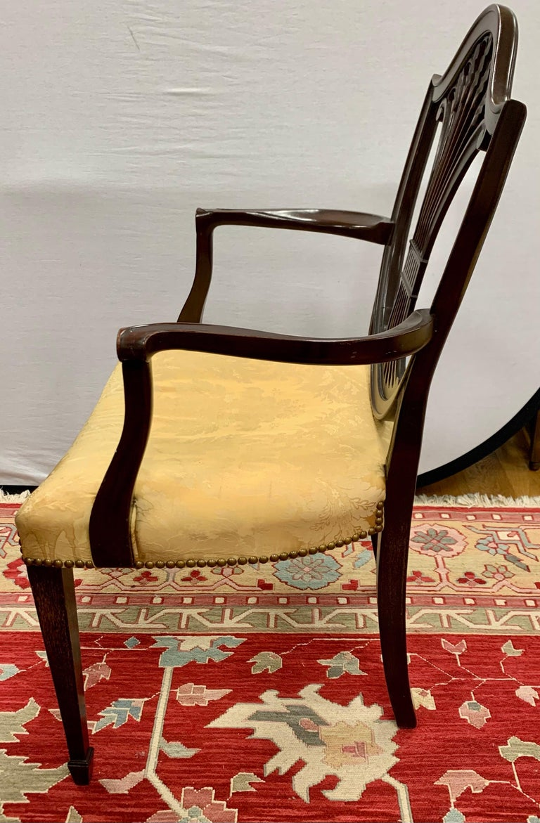 Antique Mahogany Hepplewhite Carved Wheat Sheaf Shieldback Dining Chairs 2