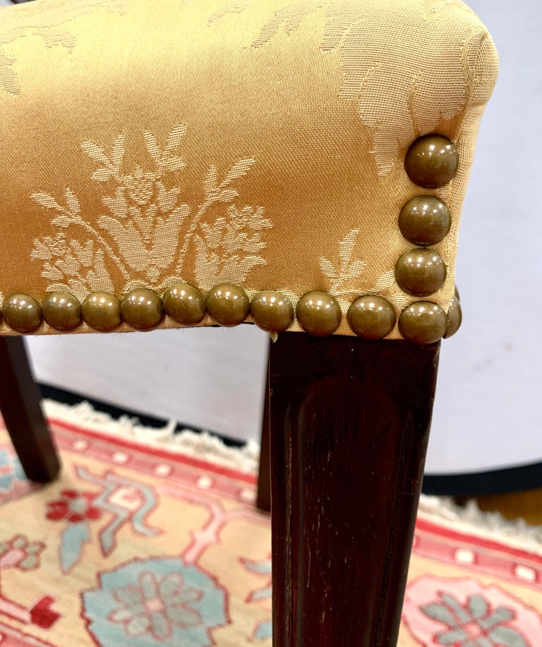 Antique Mahogany Hepplewhite Carved Wheat Sheaf Shieldback Dining Chairs 4