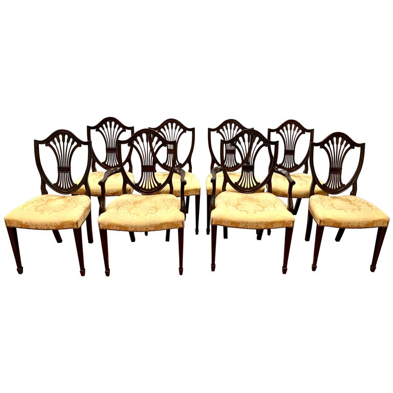 Antique Mahogany Hepplewhite Carved Wheat Sheaf Shieldback Dining Chairs