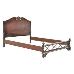 Antique Mahogany Hollywood Regency Full Size Bed Frame Headboard Dorothy Draper