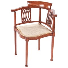Antique Mahogany Inlaid Corner Chair, circa 1890