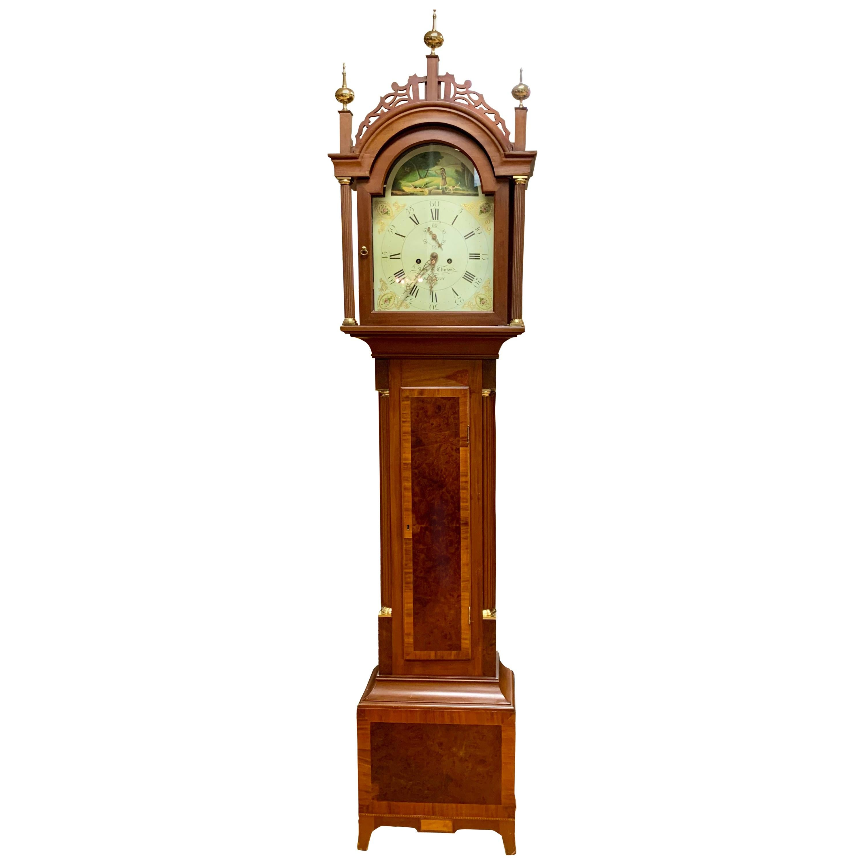 Antique Mahogany Inlay Longcase Grandfather Clock with Hand Painted Face