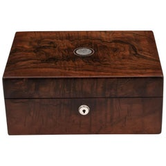 Antique Mahogany Jewelry Box by Wells and Lambe, 19th Century