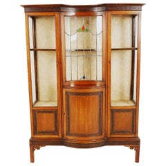 Antique Mahogany Leaded Glass China Cabinet, Display Case, Scotland 1910, B2361