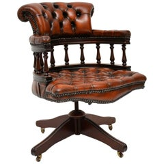 Antique Mahogany and Leather Captains Desk Chair