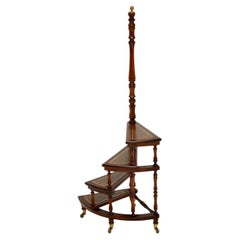 Antique Mahogany & Leather Spiral Library Steps