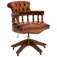 Antique Mahogany & Leather Swivel Captains Desk Chair