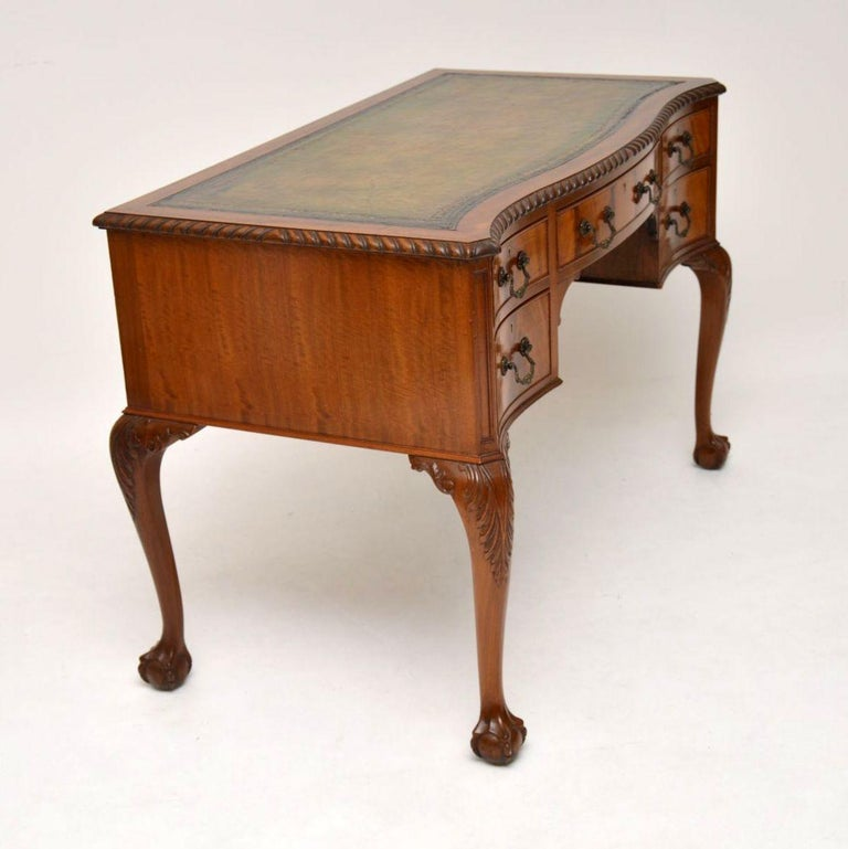 Antique Mahogany Leather Top Desk For Sale 5