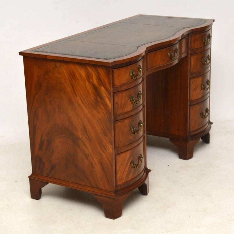 Edwardian Antique Mahogany Leather Top Desk For Sale - Antique Mahogany Leather Top Desk At 1stdibs