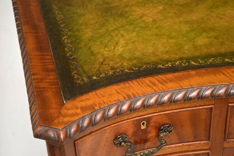 Antique Mahogany Leather Top Desk For Sale 1