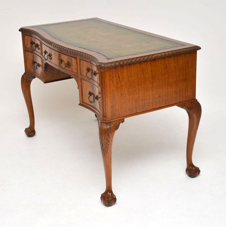 Antique Mahogany Leather Top Desk For Sale 2