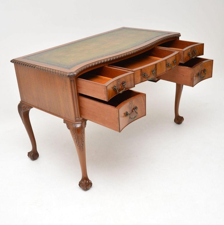 Antique Mahogany Leather Top Desk For Sale 3